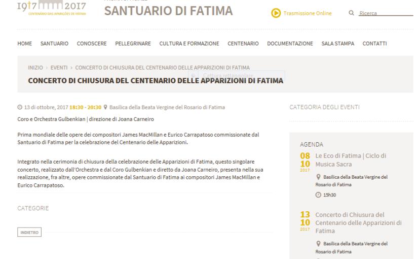 A FATIMA IL 13 OTTOBRE UN CONCERTO SOSTITUIRA' IL ROSARIO. C'È QUALCHE NOVITÀ….APPELLI A PREGARE IN TUTTA ITALIA SULL'ESEMPIO DELLA POLONIA.